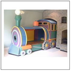 Train bed! Love the colors for Audrey
