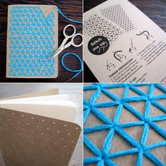 Cuadernos de bolsillo bordado Teal bricolaje por CuriousDoodles