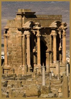 Timgad (called Thamugas or Thamugadi in old Berber) was a Roman colonial town in the Aurès Mountains of Algeria, founded by the Emperor Trajan around AD 100.