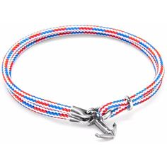 ANCHOR & CREW - Project-RWB Red White & Blue Brighton Silver and Rope... ($52) ❤ liked on Polyvore featuring jewelry, bracelets, anchor cord bracelet, anchor rope bracelet, nautical jewelry, silver jewelry and handcrafted jewellery