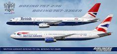 BRITISH AIRWAYS BOEING 757-236 BOEING 767-336ER Realistic Airliner Art Illustration