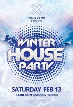 Download the Winter House Party Free Flyer Template 50th Birthday Party Games, Anniversary Party Games, Free Psd Flyer Templates, Event Flyer Templates, Flyer Free, Kids Party Themes, Ideas Party, Party Poster, Winter House