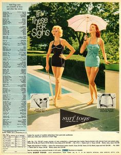 """Surf Togs, 1960s  - """"Try these for sighs."""" Gloria and Marjorie pictured. This is their swimsuit style."""