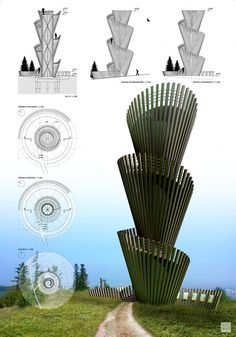 The results of the competition Lookout Tower Kvetnica Bamboo Architecture, Creative Architecture, Concept Architecture, Futuristic Architecture, Architecture Design, Architecture Models, Tower Design, Gate Design, Design Thinking Process