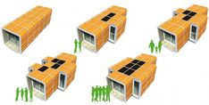 Modular housing concept boasts 64 possible combinations Mobile Architecture, Modern Architecture, Modular Housing, Temporary Housing, Shelter Design, Urban Setting, Small Groups, Habitats, Concept