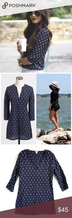 J.Crew Anchor Print Tunic J.Crew Factory Anchor Print Tunic. Versatile: wear as a top or as a beach cover-up! Size xs. Excellent, Like New Condition! 100% Cotton. No rips, tears, stains. No Trades! J.Crew Factory Tops Tunics