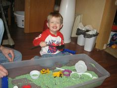 colored rice sensory table, always a hit