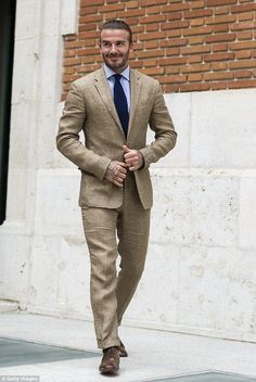 David Beckham Photos Photos - David Beckham attends Biotherm Homme presentation at Casa de Velazquez on June 2017 in Madrid, Spain. - David Beckham Is Biotherm Homme New Ambassador David Beckham Suit, David Beckham Photos, David Beckham Style, Linen Suits For Men, Khaki Suits, Mens Suits, Interview Suits, Classy Suits, Best Dressed Man