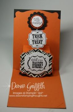 Dawn Griffith includes a how-to video for this card on her blog. Stampin' Up! Pop 'n Cuts with Deco Label Framelits. Halloween card inside