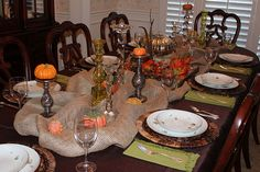 burlap and candlesticks