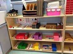 Grammar boxes Montessori shelf