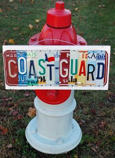 ***LOVE THIS***  COAST GUARD License Plate Art Custom Home Decor Wall by UniquePl8z...would be cute if each letter was from a state of service