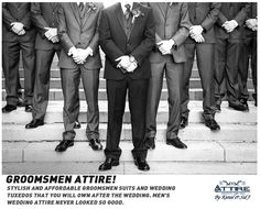 Stylish and affordable groomsmen suits and wedding tuxedos that you will own after the wedding. Men's wedding attire never looked so good.