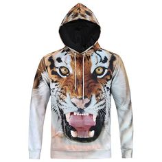 New Fashion Men 3d Sweatshirts Print Tiger Animal Casual Hoodies With Cap Autumn Winter Hoody With F