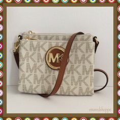 """'NWT Michael Kors """"FULTON"""" Large Cross body' is going up for auction at  5pm Sat, Apr 12 with a starting bid of $10."""