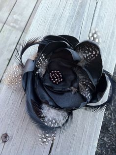 Black Gothic Fabric Flower Hair Clip by Created2BCaptivated