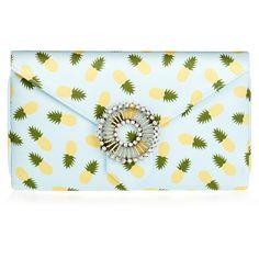 Wilbur & Gussie Charlie Blue Pineapple Silk Clutch Bag ($97) ❤ liked on Polyvore featuring bags, handbags, clutches, blue, two tone handbags, blue clutches, blue purse, silk handbags and blue handbags