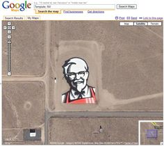 KFC space logo  Yum! Brands Inc created the logo near Rachel, Nevada, and claimed it's the first ad that can be seen from space. If you recall, the same company had previously wanted to beam a laser ad up onto the moon for Pizza Hut, but had later scaled back to buying ad placement on the side of a Russian rocket.