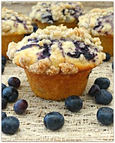 Blueberry Swirl Streusel Muffins « Just Baked