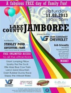 It certainly is fall festival season! Come check out the Lake County Jamboree on Saturday. This event is FREE and hosted by Stanley Pond Adventure Farm and our friends and the Macaroni Kid!