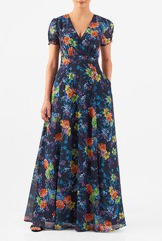Floral print georgette surplice maxi dress #eShakti