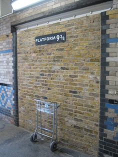 So many people re-enacted the Platform 9 3/4 barrier scenes... they made this at King's Cross Station :) I wanna go!!!