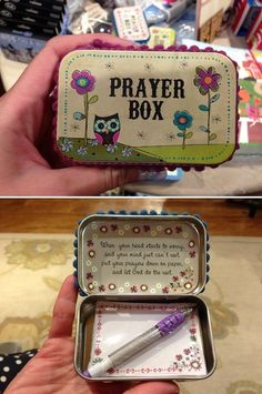 DIY Altoid Tin Prayer Boxes- a sweet friend gave me one of these. I keep it on my desk at work and add prayers to it almost daily. Great gift idea, so start saving those Altoid tins!