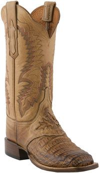 #Lucchese Style C2058, Women's Western: Hornback Caiman #Boots with Diego Inlay Saddle Vamp and Victoria Stitch Pattern in Waxy Tan