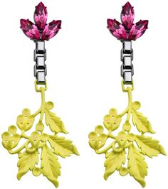 Mawi ~ Crystal and Neon Leaf Earrings