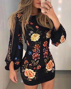 Women Cutout Back Bishop Sleeve Floral Printed Mini Dress Long Sleeve Dress Bodycon Dress Boho Beach Party Dress Color Multi Size S Trend Fashion, Look Fashion, Womens Fashion, Latest Fashion, Fashion Online, Feminine Fashion, Xl Fashion, Cheap Fashion, Fashion Brands