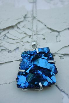 Druzy necklace treated to be electric blue by BabetteJewelry.