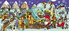 Lámina para trabajar la atención y la percepción visual con dibujos divertidos de la navidad