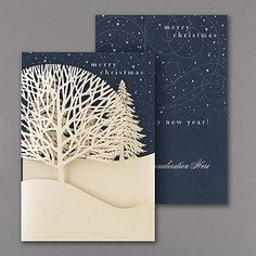 Christmas Treeline Holiday Card Rolling hills, sprawling trees, and a crisp night air shape up on this beautiful laser-cut Merry Christmas greeting.