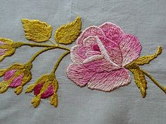 Em's Heart Antique Linens -Antique Society Silk Embroidered Runner