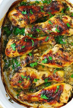Buttermilk Roasted Chicken with Garlic by julialsalbum: Moist, tender and super flavorful. The drumsticks are marinated in buttermilk, garlic, fresh parsley, salt and pepper for 24 hours before roasting (baking in the oven at 400 F). This ensures the chicken tenderizes and gets infused with delicious flavors. #Chicken #Buttermilk