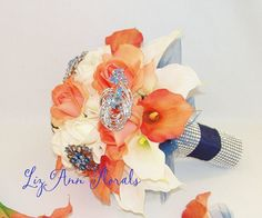 Silk CORAL NAVY White Real Touch FLowers BROOCH by LizAnnFlorals, $210.00
