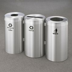 """15"""" Diameter Satin Aluminum Connected Recycling and Waste Bins, 85770"""