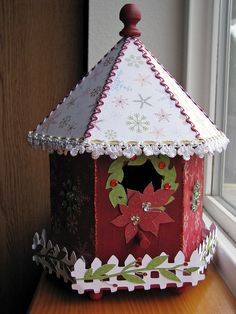 Cottage Christmas Altered Birdhouse - Scrapbook.com