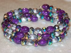 Purple Rainbow Wrap Bracelet by EriniJewel on Etsy, $26.00