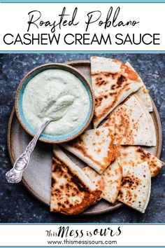 This Roasted Poblano Cashew Cream Sauce recipe is my absolute favorite Mexican inspired topping to make for quesadillas, tacos, and enchiladas! It has a creamy, velvety texture thanks to raw cashews and it has lots of flavor from oven roasted poblano peppers, garlic, and fresh cilantro. From dunking crudités and tortilla chips, to drizzling over tamales, there are a million uses for this delicious, vegan Poblano Cashew Cream. #vegan #glutenfree #dairyfree #thismessisours Healthy Mexican Recipes, Tapas Recipes, Delicious Vegan Recipes, Yummy Food, Meatless Recipes, Retro Recipes, Best Gluten Free Recipes, Gluten Free Recipes For Dinner, Paleo Recipes