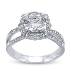14K White Gold Diamond Engagement Ring Setting.  This halo style with a modern open ring shank features gorgeous micro pave diamonds.