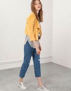 Blezer Bershka z luźnymi połami - null - Bershka Poland Trousers Fashion, Normcore, Yellow, How To Wear, Style, Swag, Outfits