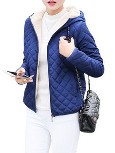 fbe4f9c485f80 Casual Solid Thick Fleece Hooded Women Short Coats Plaid Coat