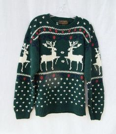 Ugly Christmas sweater warm winter wool pullover jumper crew neck men women unisex Eddie Bauer reindeer sweater forest from GloriousMorn on Etsy. Christmas Sweaters For Women, Christmas Jumpers, Winter Sweaters, Ugly Christmas Sweater, Holiday Sweater, Sweater Weather, Cozy Winter Outfits, Holiday Outfits, Christmas Clothes