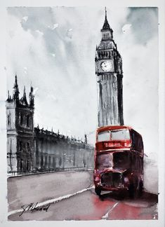 London Bus - Original Watercolour painting by Tomasz Mikutel Watercolor Architecture, Watercolor Landscape, Watercolour Painting, Landscape Art, Watercolours, London Sketch, London Drawing, Kids Painting Projects, London Painting
