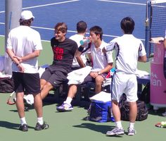 Roger practices with Kei Nishikori at the 2012 US Open  #Tennis #RogerFederer