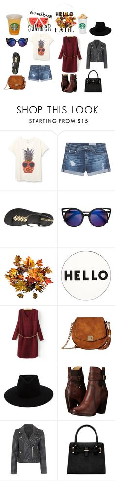 """""""Goodbye Summer, Hello Fall"""" by caitlinbc ❤ liked on Polyvore featuring AG Adriano Goldschmied, IPANEMA, Improvements, Lisa Perry, Gabriella Rocha, rag & bone, Frye, French Connection, Fall and leaves"""