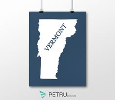 Vermont print - Vermont art - Vermont poster - Vermont wall art - Vermont printable poster - Vermont map - Vermont navy art - Instant by Exit8Creatives on Etsy