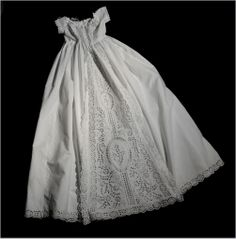 c1860 Antique Christening Gown -  Broderie Anglaise (see next pin w/matching slip)
