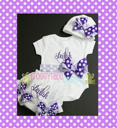 COMING HOME Newborn PERSONALIZED Bodysuit Onesie Diaper Cover Tutu Bloomer and Beanie Outfit for Little Baby Girls - Custom. $60.95, via Etsy.